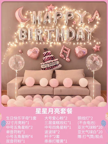 Happy Birthday balloon set Pink