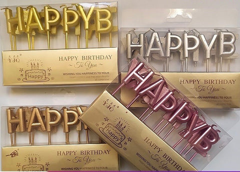 Silver happy birthday Candles party Decor