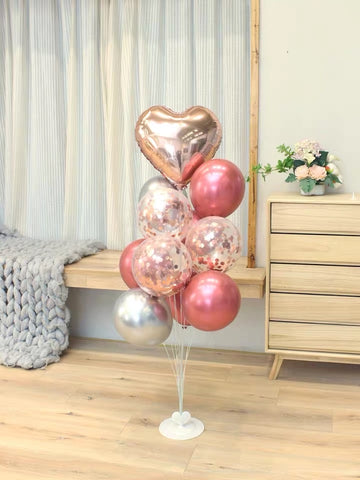 Standing Birthday balloon set pink metallic