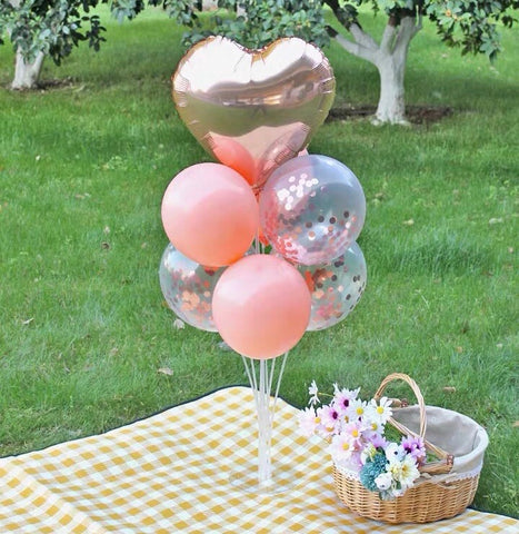 Standing Birthday balloon set champagne color