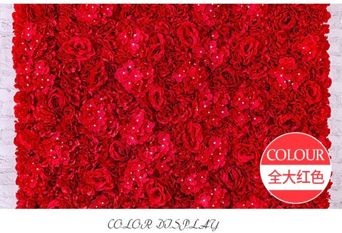 Backdrop Panel Roses Hydrangea Red mat Artificial Flower Wall