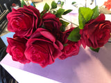 New 7 head Red Rose Artificial flower