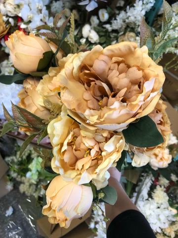 FAUx PEONIES PEONY BUNCH (Coffee mix)