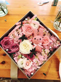 Pink square cardboard Box centerpiece For Flowers
