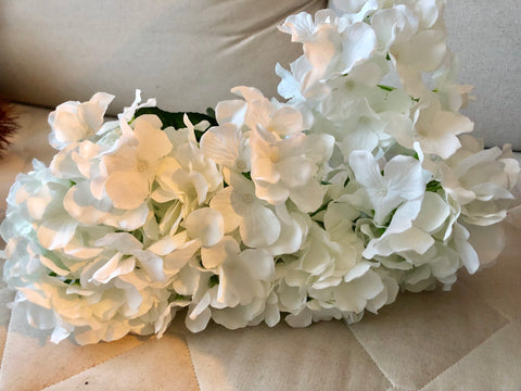 White Hydrangea Bunch 7 head silk