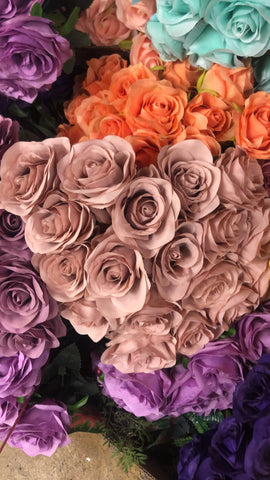 Artificial Flower Rose Bunch with leaf 18 head (Mauve)