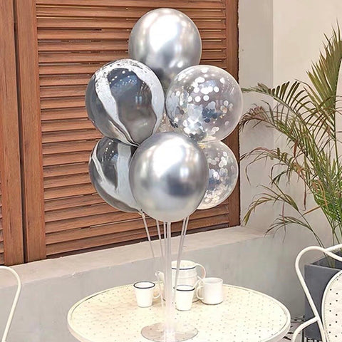 Standing Birthday balloon set Silver
