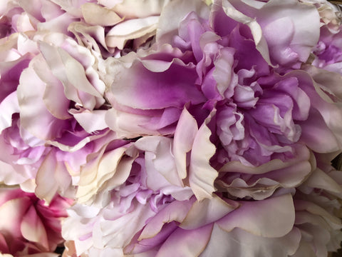 7 HEAD Purple and White FABRIC PEONY BUNCH ARTIFICIAL PEONIES - Richview Glass Wedding Supplies