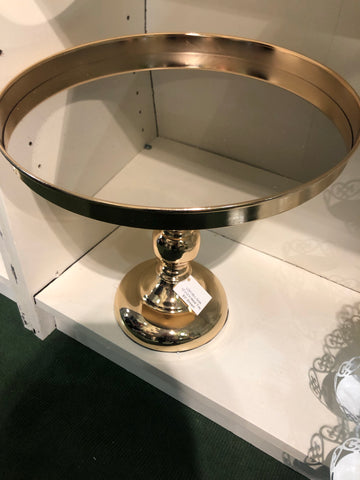"Gold metal Cake Stand (L) For Sweet Table 12"" Tall"