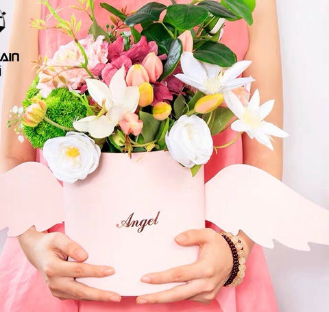 angel wings small light yellow Cardboard box For fresh or preserved Flowers