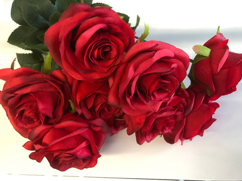 Red Artificial Diamond Rose Bunch 10 head
