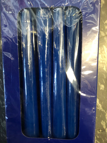 "Pack of 12 dark blue taper Candles wedding decor 10"" long"