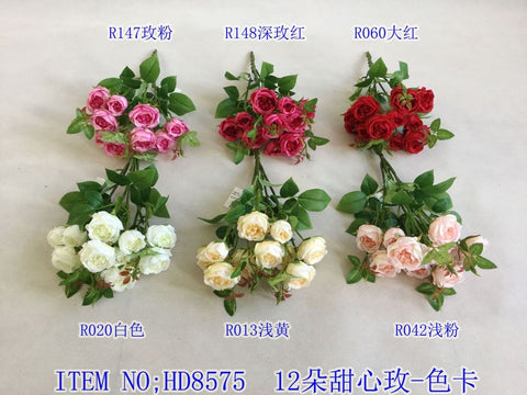 12 head White small Sweet Rose bunch Artificial flower