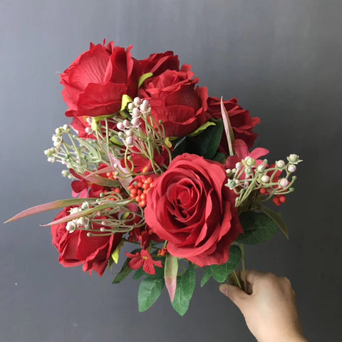 Red ROSE BUNCH With fillers