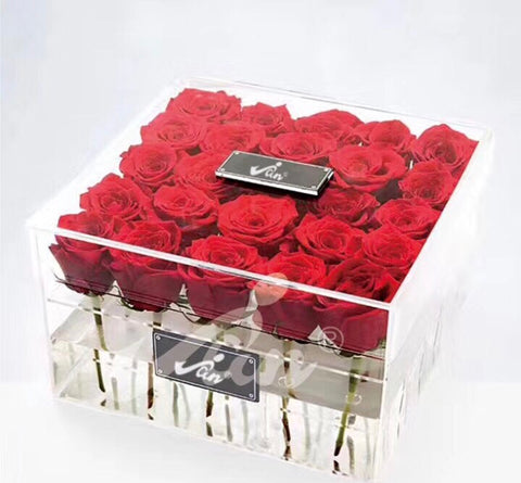25 Hole Acrylic box centerpiece For Flowers - Richview Glass Wedding Supplies