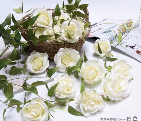 10xwhite cream rose ARTIFICIAL FLOWER HEAD WEDDING roses