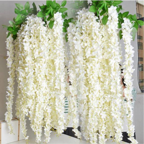 ARTIFICIAL FLOWER HANGING FLOWER LONG GARLAND WISTERIA (white) ART1-11 - Richview Glass Wedding Supplies