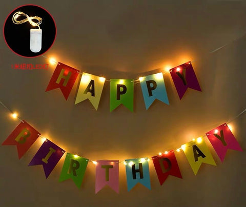 Multi color happy birthday garland