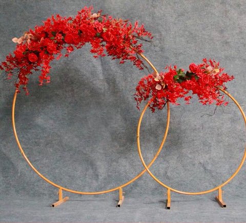 Gold metal backdrop Stand Single hoop Round 2 meter