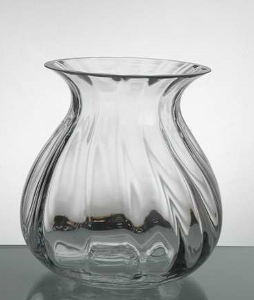 "Classy Small Bud vase with ripple 7""h - Richview Glass Wedding Supplies"