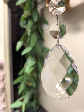 "6"" large crystal Tear Drop Pendant - Richview Glass Wedding Supplies"