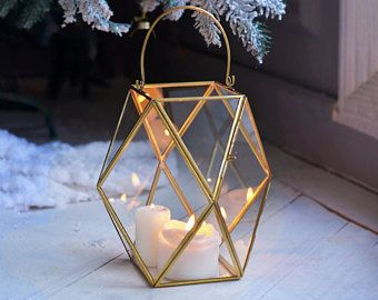 "Gold Geometric 5.5""x9"" Lantern Glass candleholder Candle Holder Terrarium Vase"