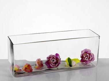 "16""x4.5"" Long and Low Vase - Richview Glass Wedding Supplies"