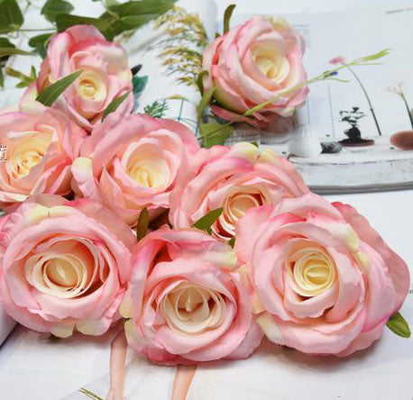 10xPink rose FLOWER ARTIFICIAL FLOWER HEAD WEDDING roses - Richview Glass Wedding Supplies