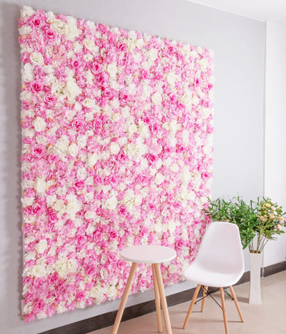 Backdrop Panel Roses Hydrangea Mat pink Artificial Flower Wall - Richview Glass Wedding Supplies