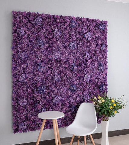 Backdrop Panel Roses Hydrangea Mat purple Artificial Flower Wall - Richview Glass Wedding Supplies