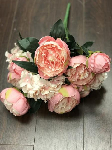 12 HEAD FABRIC ARTIFICIAL PEONIES PEONY BUNCH (PINK)- 121-1 - Richview Glass Wedding Supplies