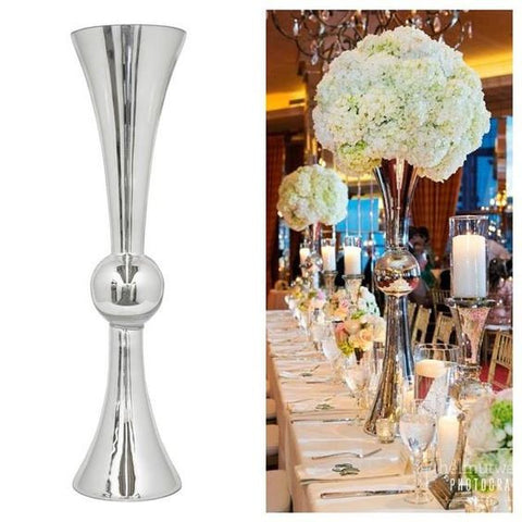 "Silver Trumpet 28"" Reversible Vase MV025 - Richview Glass Wedding Supplies"