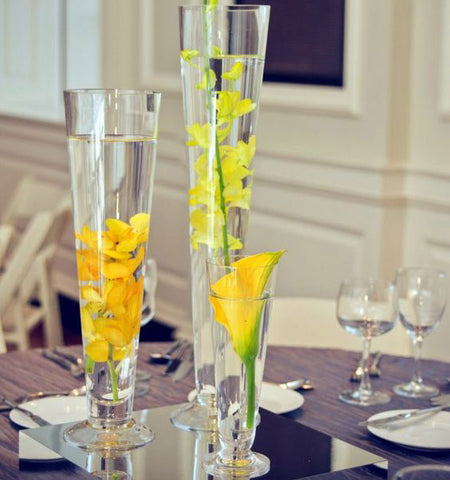 "DIY Wedding 24"" Clear Pilsner/Cone/Trumpet Vase- XD551-60 - Richview Glass Wedding Supplies"