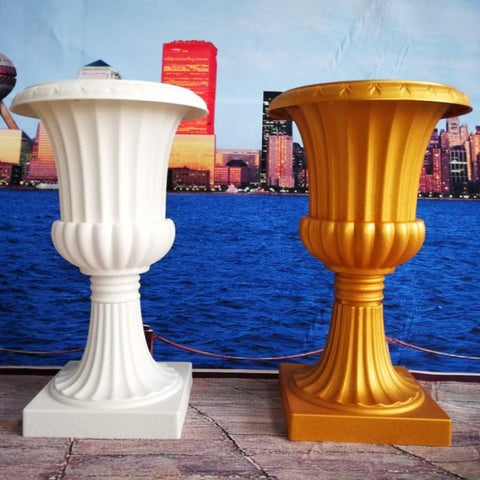 Plastic Tall Urn Gold