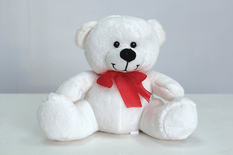 "7"" White Timothy bear - Richview Glass Wedding Supplies"