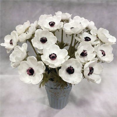 Artificial Anemone PU Material (5/bunch) Real Touch Flower SB199 (White) - Richview Glass Wedding Supplies