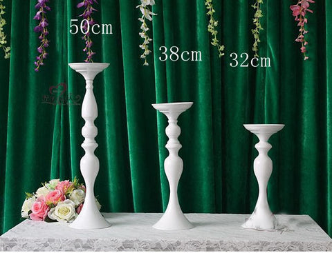 "White TALL CANDELABRA 15""/38cm CANDLE STICK CANDLEHOLDER CANDLESTICK metal stand-WHT2"