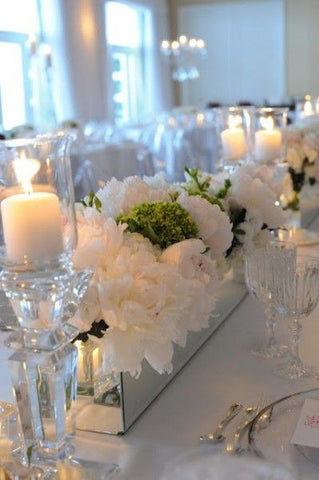 Mirrored Long And Low Vase Glassware Wholesale Wedding Centerpiece