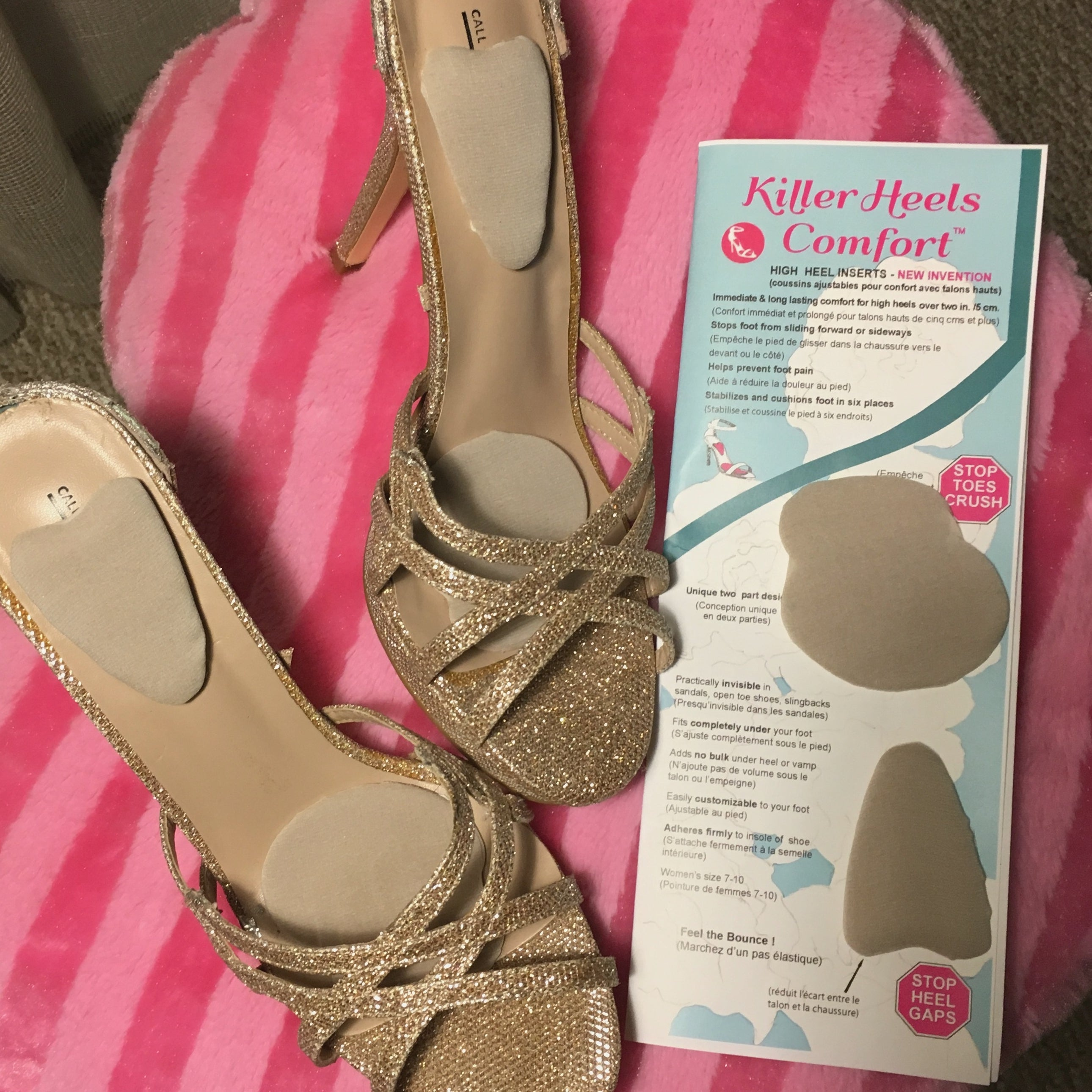 New silk covered high heel shoe inserts
