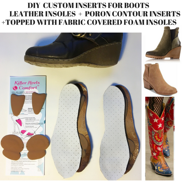 "DIY custom Insoles/Inserts for winter wedge boots, cowboy boots or chelsea boots with 2"" or higher heels"