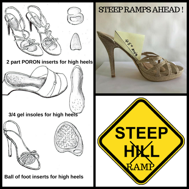 Tips for walking on a steep slope in heels; Best three high heel shoe inserts compared pros & cons