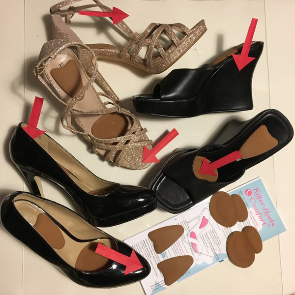 SIX PREVENTABLE PAIN POINTS IN HIGH HEELS:  Wobbliness due to instability; Toes overhang; Ball of Foot Pressure; Heel Gaps Causing Blisters; Foot Falling off Shoes at the Heel End; and Toes Crushed by Foot Sliding Forward