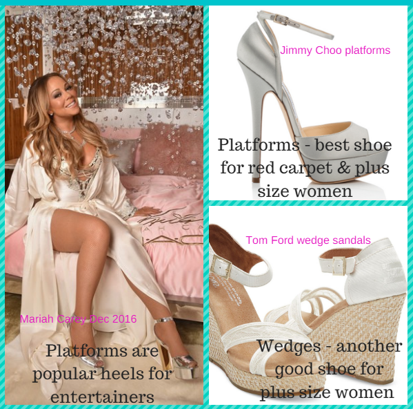 "Platform heels & wedge heels are the best high heel styles for 67% of all USA women (""plus size') - as per their own self recommendations.  Their wearability also makes these the most popular shoes for the red carpet & on stage!"