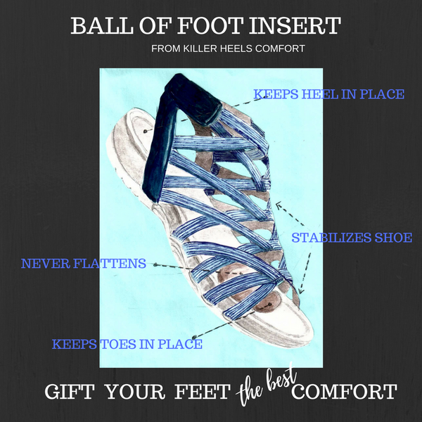 HIGH HEEL INSERTS NOW ON AMAZON.COM .......... this picture is the New Ball of Foot Insert cushion It shares the patented features with the high heel inserts. Both patented in 2015, 2017)