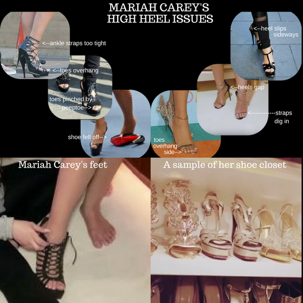 High heel shoe problems -some demonstrated by Mariah Carey !