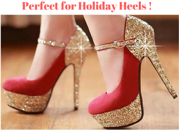 How to have perfect painfree holiday heels!  The three most common problems exacerbated by wearing high heels are morton's neuroma, bunions & hammer toes. Many high heel shoe problems can be eliminated with custom fitted inserts
