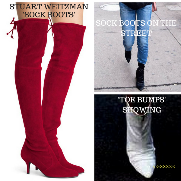 LOOK COOL IN FALL '17 HOTTEST LOOK - THE 'SOCK BOOT' !   TIPS FOR WEARING THEM WITHOUT 'TOE BUMPS' SPOILING YOUR NEW FASHION LOOK