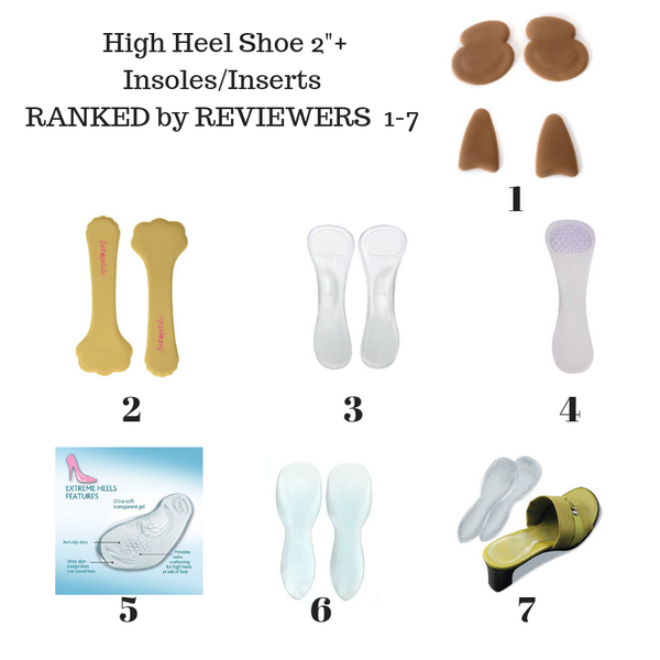 7  Best High Heel Insoles &  Inserts ranked for high heels over 2 inch + Based on synthesis of published *verified buyer reviews for 7 products sold for high heel comfort