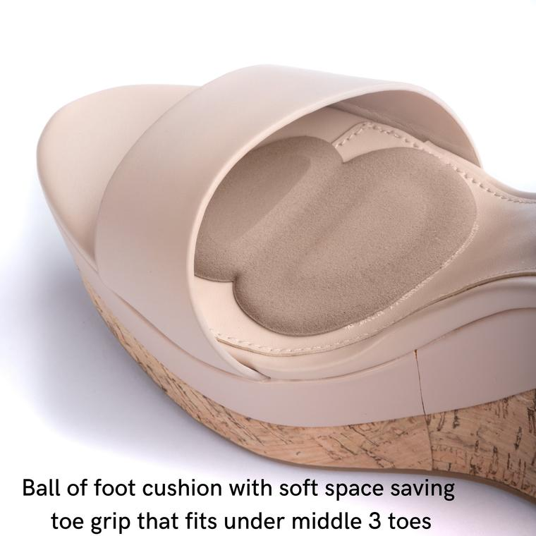 Benefits:  heels or flats. Stops foot slide forward; Cushions superbly; preserves propulsion & balance functions; stabilizes forefoot