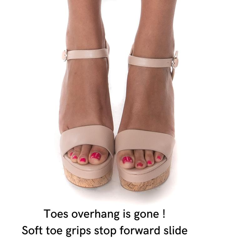Stops toes overhang in sandals & bruising or chafing in closed toe shoes; discreet, neutral tan never shows in any style open shoe